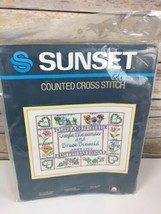 "Sunset Counted Cross Stitch Kit To Love and Cherish 2986 11"" x 14"" Wedding - $9.23"