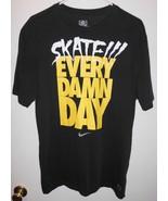 NIKE DRI FIT T-Shirt LARGE Adult Men Women Skate Every Damn Day Black TEE - $16.82
