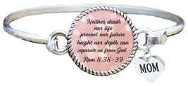 Mother's Day Gift Christian Scripture Cuff Bracelet Rom 8:38-39 Mom Jewelry - $12.88