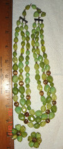 VTG MOD ART DECO LIME SALAD MODERNIST LUCITE TOURSADE NECKLACE EARRING S... - $167.99