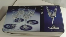 4 Dunraven Crystal by Godinger 24% Lead Crystal Caitlin 12 oz. Water Gob... - $19.80