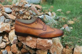 Handmade Men's Brown Wing Tip Brogues Lace Up Dress/Formal Oxford Shoes image 2
