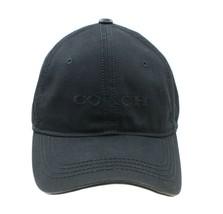 COACH NEW YORK Womens Black Leather Trim Embroidered Cap Hat Adj Strapback - $48.50