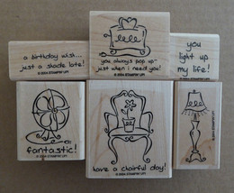 New 6pc Stampin Up Furnished With Love Home Decor Phrases House Rubber Stamp Set - $17.81