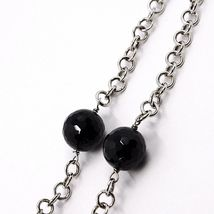 18k White Gold Necklace, Onyx Black, Round and Oval Pendant, Chain Rolo image 5