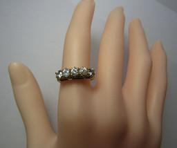 14k 14KT Yellow Gold High Bridge 4mm Cubic Zirconia CZ Stone Band Ring Size 7 - $197.01
