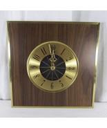 Seth Thomas 70s MCM Gold Starburst Wood Grain Wall Clock Tested - $96.49