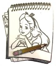Disney Alice in Wonderland Studio Store Hollywood Sketch Pad Series Alice pin - $16.34
