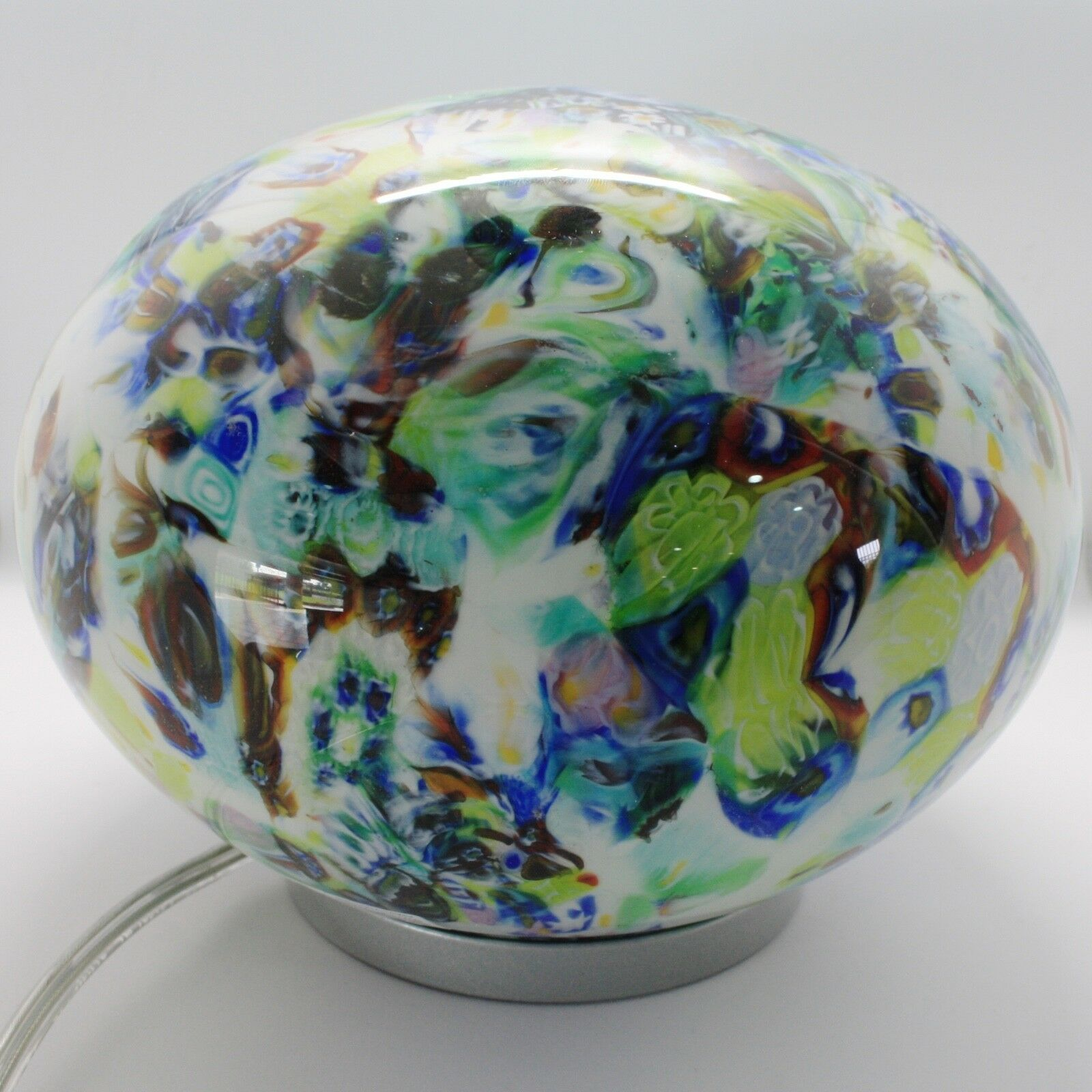 Lamp Antique Murrina Venice, Oval, Glass Murano, 16 cm, Blue, Black,Green