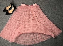 Blush Tiered Midi Tulle Skirt Blush Bridesmaid Skirt Outfits Tulle Puffy Skirts image 2