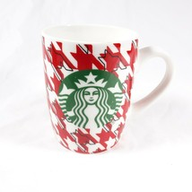 Starbucks 10 oz Red White Hounds Tooth Pattern 2017 Coffee Cup Mug - $12.00