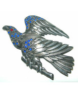 LARGE VINTAGE POT METAL ANTIQUE PASTE RHINESTONE EAGLE FIGURAL BIRD BROO... - $75.00