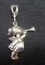 """925 STERLING SILVER ANGEL GIRL BLOWING HORN  NO STONE PENDANT  1 3/8""""  - $34.29"""