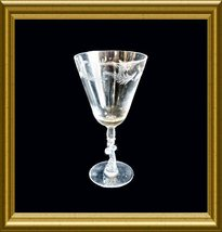 Tiffin Crystal Water Goblet in the Vanity cut pattern with a scrolled stem - $8.00