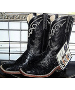 Anderson Bean Black Square Toe Full Quill Leather Ostrich Cowboy Boots 9... - $595.00