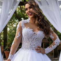 New Stunning Amazing Train Long Sleeve Lace Appliques Satin Wedding Bridal Gown image 3