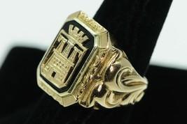Art Nouveau (ca. 1890) 14K Yellow Gold Onyx Castle Ring (Sz 8) - $695.00