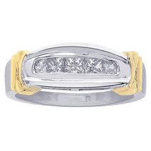 0.60 Carat Princess Cut Diamonds Woman Diamond Wedding Band 14K Two Tone Gold - $652.41