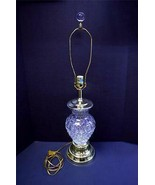 """24% LEAD CRYSTAL AND BRASS TABLE LAMP 31"""" TALL W/ CRYSTAL FINIAL MADE IN... - $119.99"""