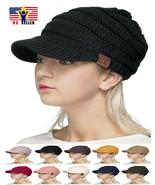 C.C Brand Brim Visor Trim Ponytail Beanie Ski Hat Knitted Stretchy Messy... - $14.34+