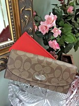 Coach Wallet Peyton Brown Signature Red Pouch Slim Envelope 52601 W4 - $84.14