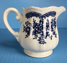 Vintage Blue Carnation Ironstone Scalloped Creamer Pitcher / Japan 4235 ... - $9.89