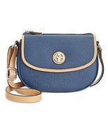 Giani Bernini Saffiano Leather Top Zip mini Saddle Bag Purse Navy - $49.90