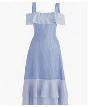 J CREW COLLECTION Blue Striped Silk Dress Cold Shoulder 8 N - $69.30