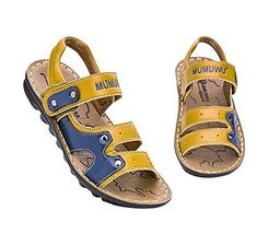 Fashion Boy's Outdoor Casual Beach Sandal Leather Shoes YELLOW, Feet Length 16CM