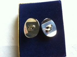 Vintage Cufflinks  Silvertone with 2 Clear Crystal Stones - $12.00