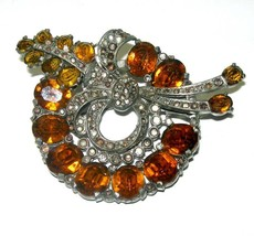 VINTAGE ART DECO FAUX CITRINE RHINESTONE OPEN BACK BROOCH 1930'/40's ERA... - $89.00