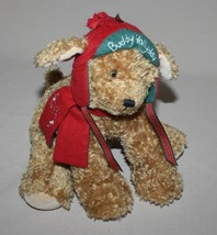 "Buddy Hollyday 9"" Plush Dog Christmas Stuffed Animal Aviator Cap 2002 Ha... - $6.88"