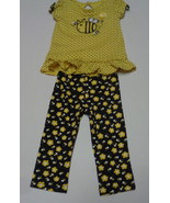 Baby Gear Infant Two Piece 12 Months NWOT Top/Pants Black/Yellow Flower ... - $9.89