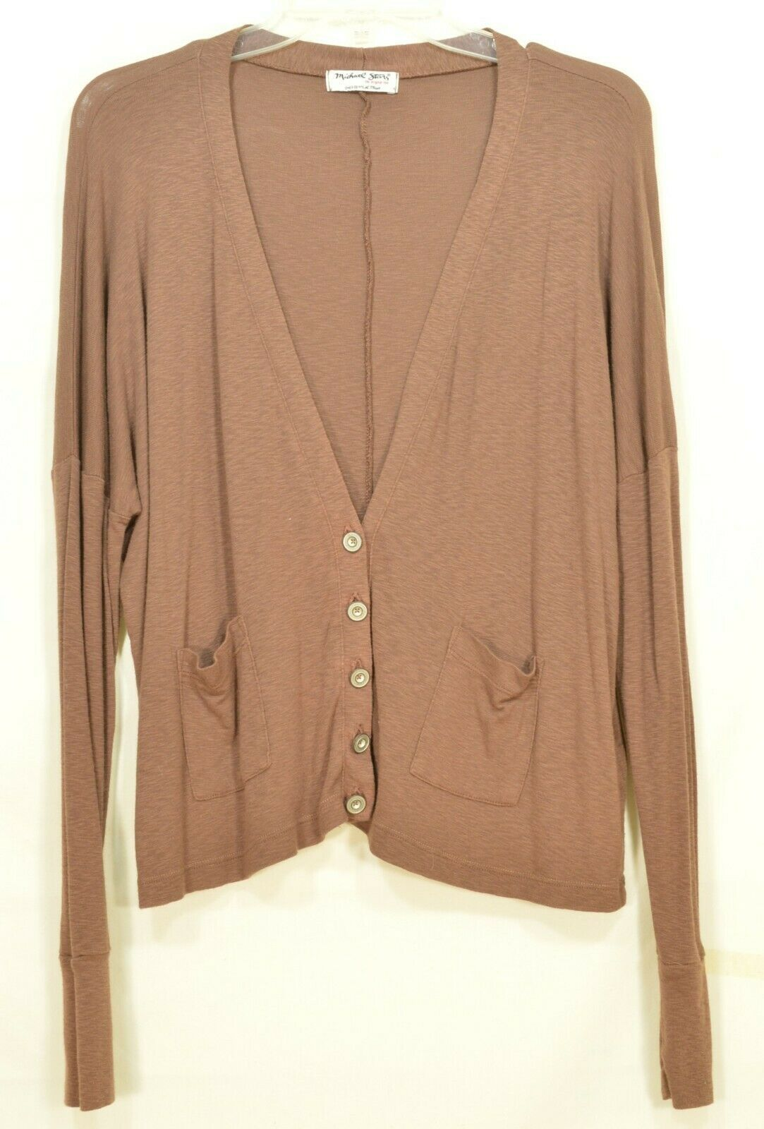 Michael Stars sweater OSFM brown cardigan dropped shoulders lightweight fall USA image 9