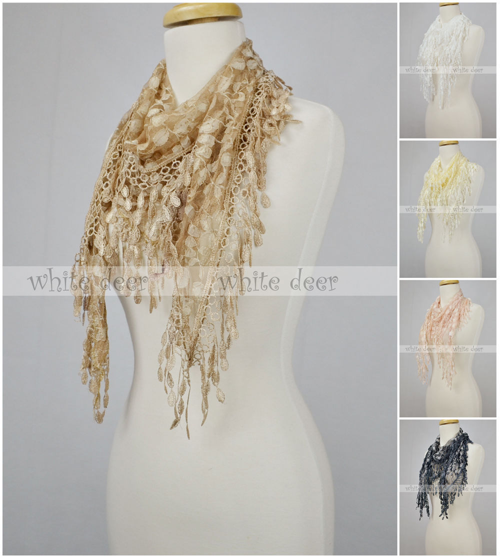 Primary image for Triangle Lace Scarf Melon Seed Fringe Tassel Floral Leaf Sheer Embroidery