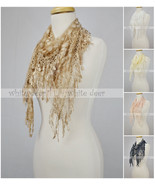 Triangle Lace Scarf Melon Seed Fringe Tassel Floral Leaf Sheer Embroidery - $9.95