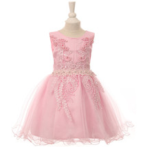 Pink Satin Glittered Tulle Baby Girl Dress Embroidered Lace Pearls Sequi... - $40.00