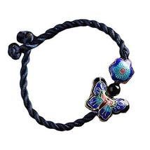 Cloisonné Pattern Hand Made Woven Bracelet Butterfly Flower Bracelets 15 CM