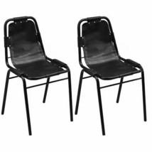 vidaXL 2x Dining Chair Industrial Style Leather Steel Black Kitchen Furn... - $147.99