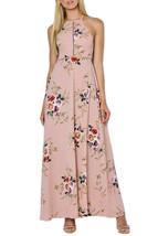 Apricot Floral Cutout Back Halter Split Maxi Boho Dress - $21.00