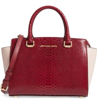 MICHAEL KORS SELMA RED PINK MEDIUM SATCHEL BAG PURSE SNAKE LEATHER $358 ... - $228.00