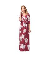 AOVEI Red Floral Print Half Sleeve V Neck Party Boho Maxi Long Beach Dress  - $24.99