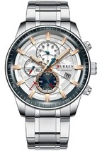 CURREN Stainless Steel Sports Business Watch Men Chronograph Silver Gold Watch - $40.00