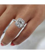 3 Carat Cushion Halo Moissanite Engagement Ring 14K White Gold Moissanite Ring  - $519.00