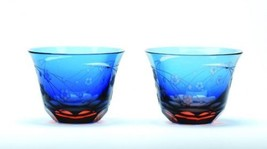 Guinomi Ochoko Edo Kiriko glass Japanese Sake cup Sakura Blue Pink set of 2 - $111.85