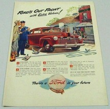 1946 Print Ad Ford Car in Small Town Police Man Admires Car - $13.85