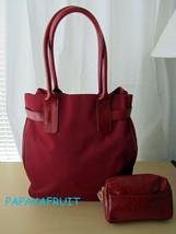 2pc Estee Lauder Dark Red Nylon Tote Bag with Croc Embossed Purse - $15.83