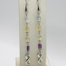 Silver Earrings 925 Tried and Tested with Infinity Quartz Citrine Topaz Amethyst image 2