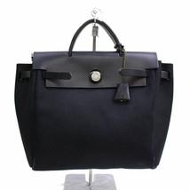Hermes Paris Womens Black Canvas Leather Herbag Purse Handbag 73014-B - $716.34