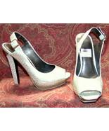 "JESSICA SIMPSON gold slingback heels 6.5 5""heel (TC2B-06G8G) - $39.58"
